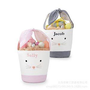 Easter Rabbit Basket Easter Bunny Gift Bags Rabbit Handbag Printed Canvas Tote Bag Bowknot Candies Baskets 50pcs 18 O2