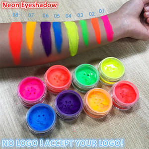 8Colors Neon Powder Eyeshadow Pigment Matte Mineral Spangle Nail Powder Make Up Shimmer Shining Eye Shadow accept your logo