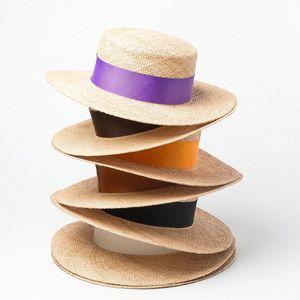 2020 Luxury Designer Collection Paris Runway Flat Top 100% Bao Straw Summer Boater Sailor Sun Hat mcYf#