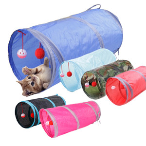 50x25 cm Cat Toy 7 Color Funny Cat Tunnel 2 Holes Play Tubes Balls Collapsible Crinkle Kitten Toys Puppy Play Dog Chat Tunnel