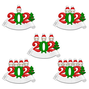 Christmas Ornament DIY Greetings Christmas Pendant 2020 Snowman Party Family Christmas Tree Pendant PVC Face Mask Pendant