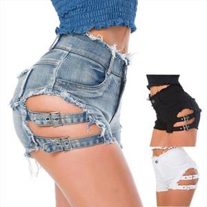 High waist Sexy Womens jeans denim shorts Summer lace up Ladies Skinny denim cotton broken hole super short jeans Girls