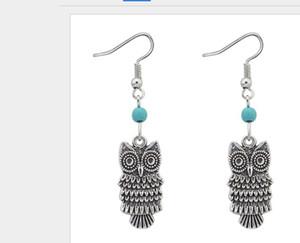 Owl Bird Earrings 925 Silver Fish Ear Hook E991 40pairs lot Antique Silver Dangle Chandelier 11x36mm ps1570