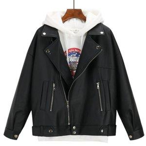 New Arrival Women Autumn Winter Leather Jacket Oversized Boyfriend Korean Style Female Faux Coat Outwear Black 201009