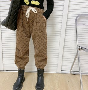 Fashion New Kids Corduroy Pants children Letter Printed Casual pants Boys Girls Denigner Boot Trousers A4825