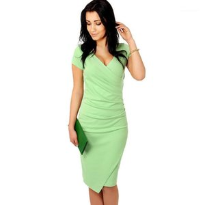 Summer 2020 Short-Sleeved Sheath Dress Women's Fashion Professional Bag Hip Dress Sexy V-neck Slim Large Size Solid S-2XL1