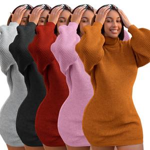 Womens Tasarımcı Triko Elbise Sonbahar Kış Uzun Kollu Katı Renk Yüksek Boyun Casual Örme Triko Womens