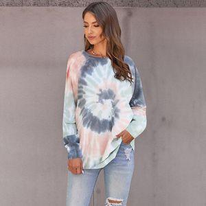 Ladies Fashion Sweater Spring Autumn Casual Irregular tie-dye Printing Round Neck Women's Top
