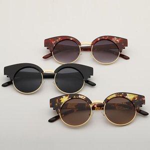 Moda göz kamaştırıcı rengi yeni kadın Retro kaş Güneş yuvarlak çerçeve Sunglasses