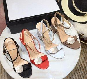 Clásico sandalias de tacón alto del talón grueso cuero de la hebilla del ante zapatos de mujer de metal para fiestas Ocupación sandalias atractivas size34-42
