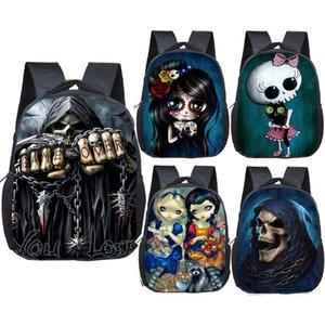 12 Inch GothicDeath Skull Zaini Grim Reaper bambini della scuola Borse piccolo zaino dei ragazzi asilo Bag Bambini Bookbag regalo