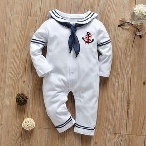 Newborn Baby Boy Girl Romper White Navy Sailor Uniforms Unisex Long Sleeve Jumpsuit Infant Clothing Autumn Toddler Clothess 201027