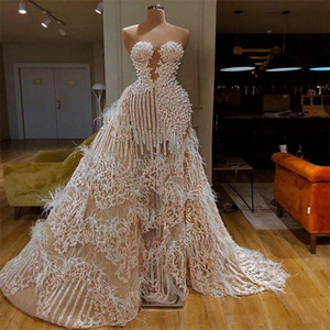 Splendid Evening Dress With Detachable Train Sweetheart Major Beading Feather Appliqued Sequins Formal Party Gowns Custom Made Prom Dresses