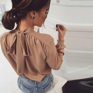 Kadın Bluz Gömlek Kadınlar Rahat Sırt Yay Bandaj Bluz Katı Standı Yaka Uzun Kollu 2021 Moda Sonbahar Zarif Ofis Bayanlar Blous