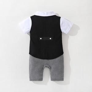 Cross-Border Baby Clothing Summer Gentleman Baby Jumpsuit Short Sleeve Cool Tail Baby Boy Children Romper Romper