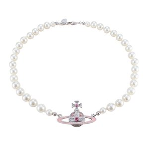 designer necklace Queen Mother Vivienne vivienne pink paint Saturn pearl necklace NANA same necklace with box