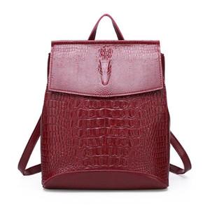 Zaino in pelle delle donne di alta qualità 2020 Female Vintage Crocodile Bagpack Viaggi Shoulder Bag Sacchetti di scuola per ragazze mochila Muje