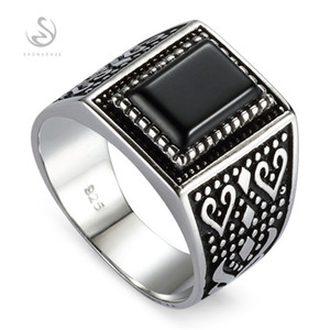 SHUNXUNZE Best Sellers Vintage wedding rings silver 925 men Sterling Silver Jewelry & Accessories Black agate S-3808 size 7 8 9 10 11 12 13
