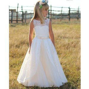 Long Sleeves Flower Girl Dresses birthday party Dresses Weddings Lace Gown Little Girls First Communion Pageant Gowns
