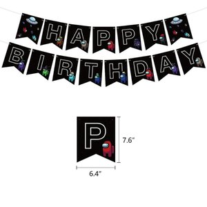 1set Among Us Latex Balloon Game Banner Cake Topper Toys Black Happy Birthday Party Decorations Pet Cartoon Toys For Kids Adult HHE4178