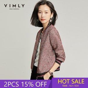 Vimly primavera otoño retro hilo chaqueta corta moda mujer soporte collar cremallera remiendo suelto casual femme veste 98686 201007