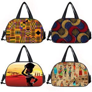 Afro Pattern Print Travel Bag Women Tote Duffle Bags Africa Black Ladies Handbags Multifunctional Storage Bags Shoes Holder