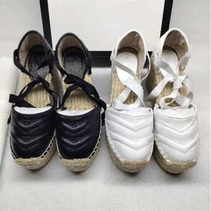 Diseñador Mujeres Cuña Plataforma Sandalias Sandalias Espádrille Zapatos Real Cuero Tobillo Lace-Up Matelassé Espadrille Ladies High Heel 12 cm