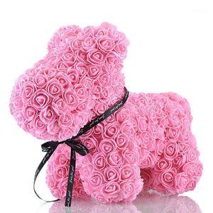 Hund Rose Seifenschaum Blume künstliche Neujahrsgeschenke für Frauen Valentines Geschenk Pink1