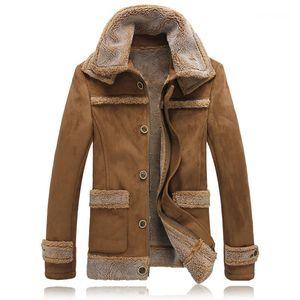 Taschen-Jacke Homme Massiv Warme Mäntel Herren Lambswool-Revers-Neck-Mantel-Winter Langarm Panelled