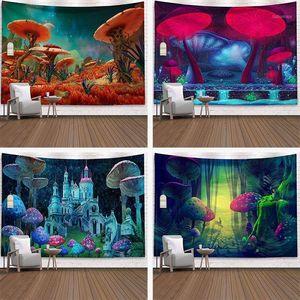 Espaço Cogumelo Floresta Castelo Tapeçaria Fairytale Trippy Parede Colorida Pendurado Tapeçaria para Home Deco Mandala1