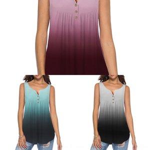 XNGUT 2020 plissado gradiente mangas soltas T-shirt dos Vest mulheres Botão 2020 botão plissado sem mangas soltas gradiente sensuais das mulheres T-shirt s