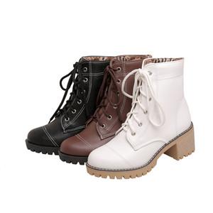 Stivali PQECFS Big Size 34-45 Alta qualità 2021 Primavera Autunno Inverno Donne Inverno Solid Strange Style Tacchi Caviglia 3 colori