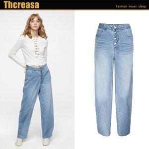 Новая одежда в Европе и свободных досуга широко ноевые брюки высоты высокой талии прямые выкидки ковбойские штаны 201105