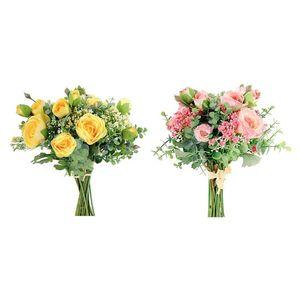 جديد 4 قطع الزهور الاصطناعية الحرير الفاوانيا الورود مع التنفس الطفل eucalyptus يترك باقات الزفاف (الوردي الأصفر)
