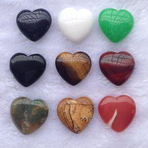 Amor coração em forma de pedra natural cura cristais pedras dia dos namorados ornamentos multi cor jóias não porosas 1 7wt k2b