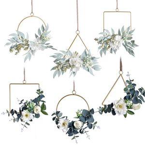 Çiçek Çelenk Düğün Kare Yuvarlak Üçgen Metal Çelenk Demir Yüzük Hoop Kapı Asılı Craft Parti Dekor Paskalya Düğün Çelenkleri