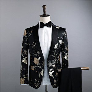 2018 Newest Black Slim Two-Piece Jacket Pants Suit Gold Leaves Embroidery Nightclub Singer Prom Costumes S-2XL