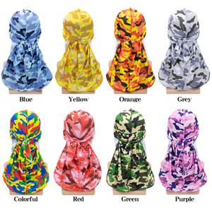 التمويه حريري Durag 2020 القراصنة القبعات قسط 360 موجات طويل الذيل الأزياء حريري Durags باندانا العمامة الهيب هوب كاب الرجال النساء العصابة Durag