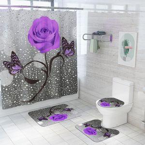 Franela Baño Alfombras Decoración para el hogar Matera de baño y Cortina de Ducha Set With Bath Bath Alfombras Ninguna Resbalón Baño Alfombra Aseo Suelo Mat Hwe4660