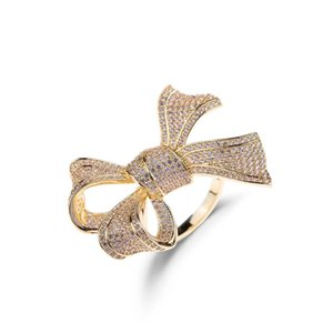 hollow out micro zircon inlaid rose gold butterfly ring women fashion exaggeration color preserving adjusting