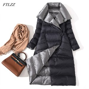FTLZZ New Women Double Sided Down Long Jacket Winter White Duck Down Coat Double Breasted Warm Parkas Snow Outwear 201120