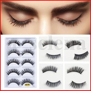 5pairs / set 3D visone cigli falsi spessi Striscia di cotone nero completo di plastica Falsa Eye Lashes per il partito compone l'attrezzo con cosmetici 41 stili