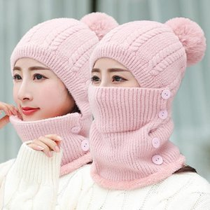 Winter Beanies Women Scarf Wool Knitted Hat Caps Mask Lady Warm Riding Windproof Winter Hats For Women Skullies Beanies Hats
