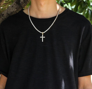 Iced Out Zircon Cross Pendant With 4mm Tennis Chain Necklace Set Men's Hip Hop Jewelry Gold Silver C wmtFEU dayupshop