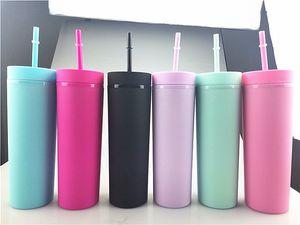 16 oz Skinny Tumblers Matte Coloré Tumblers acryliques avec couvercles et pailles Double mur en plastique de plastique avec une tasse de réutilisable de paille libre