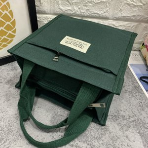 The new Japanese-style portable canvas unisex models lunch bag lunch box bag hand handbags Mummy bag