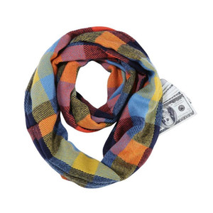 Шали плед шарф бесконечности обертывают скрытые карманные молния карманные теплые женщины с секретными путешествиями шарфы женщина человек