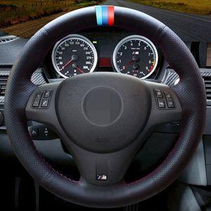 الأسود الاصطناعي التوجيهية جلد السيارات المخاطة يدويا عجلة تغطية ل BMW M الرياضية M3 E90 E91 E92 E93 E87 E81 E82 E88 E84 X1