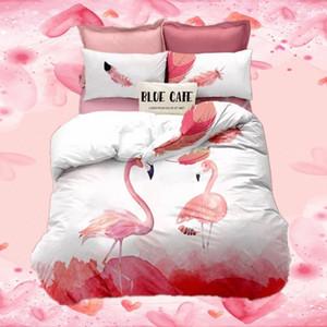 Flamenco rosado Sábanas 3 D chica Birds Ropa cómoda cama de lijado reina edredón a los conjuntos de animal Una sola doble Beding qfYc #