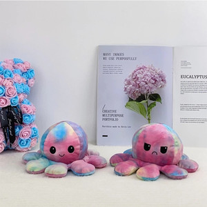US Warehouse Reversible Flip Two-sided Octopus Plush Stuffed Doll Soft Simulation Moods Color Changed Octopus Plush Toy For Kids DHL Ship